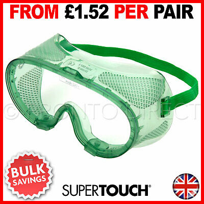 Safety Goggles EN166 Vented Lightweight Eye Protection Adjustable Anti-Scratch