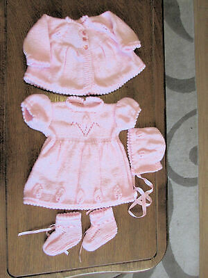 BABY PINK  HAND  KNITTED  DRESS SET 3 to 6 months  DRESS HAT BOOTIES coat NEW