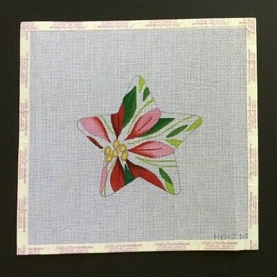 Raymond Crawford Hand-painted Needlepoint Canvas Poinsettia Star Ornament