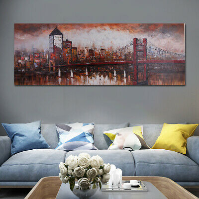 Hand Painted Abstract Oil Painting Stretched On Canvas Wall Decor:Bridge Framed