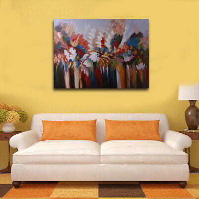 Modern Abstract Oil Painting Canvas Wall Art Colorful Decor Hand Paint Framed