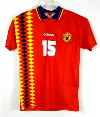 739c1234940 Spain adidas Vintage Retro 1994 Home Jersey #15 Caminero World Cup Soccer  Size M