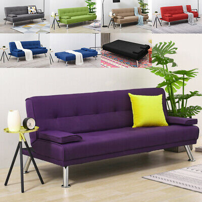 Linen Fabic Sofa Bed  3 Seater Sofabed Reliner Sleeper Couch Settee Click Clack