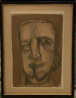 Expressionist 1990 Pastel Portrait Painting, Inspired By Picasso.