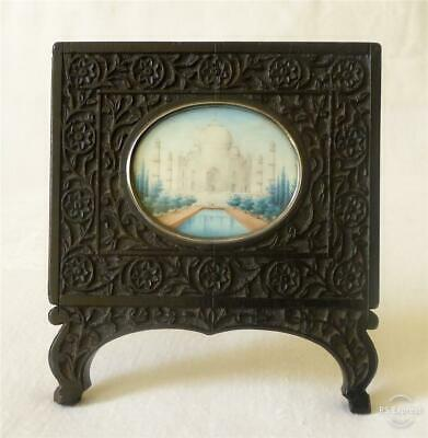 Antique Indian Painted Miniature Of The Taj Mahal In Carved Ebony Frame