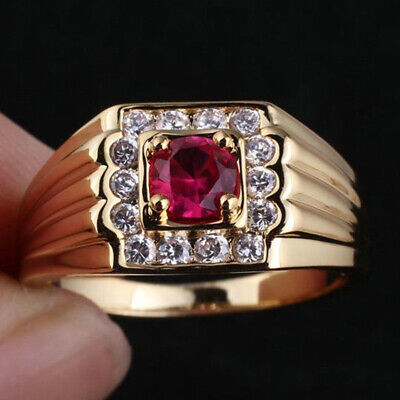 Red Czech Rhinestone Copper Gold Plated Ring Bling Wedding Jewelry Size 9