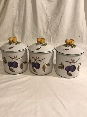 Royal Worcester Evesham Vale Trio of Storage Jars - Damson & Cherries