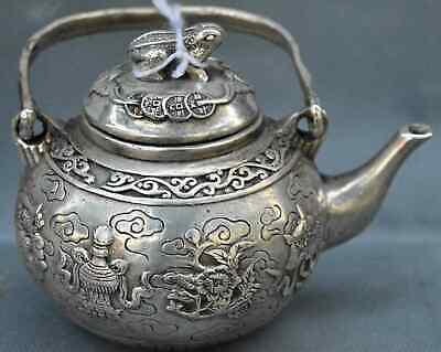 Exorcism Art Handwork Collectable Old Miao Silver Carve Buddhism Totem Tea Pot