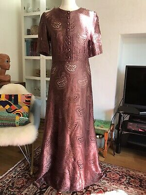 Original Vintage 70s does 30s 40s Maxi Dress Pink Deco Slinky Dusty Rose