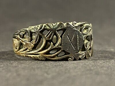 Stunning Ancient Roman Bronze Xi Legionary Ring High Detail Circa 58Bce-425Ad