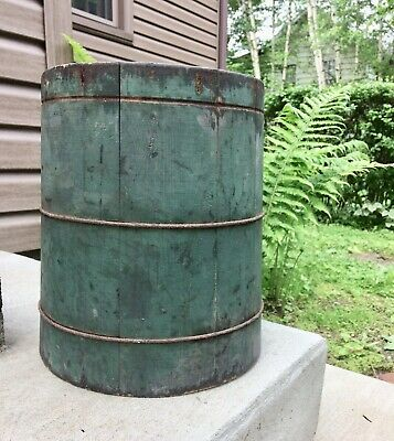 Antique Primitive Double Dry Measure Staved Wood Bucket Old Blue Green Paint