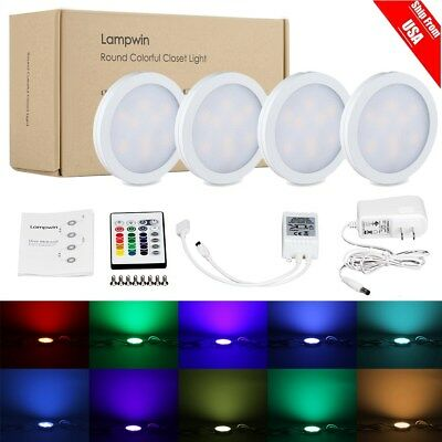 4x RGB Color Changing LED Under Cabinet Light Counter Closet Puck Lamp w/Remotee