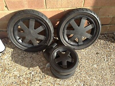 Quinny Buzz front and Back Rear Wheel wheels pair Black