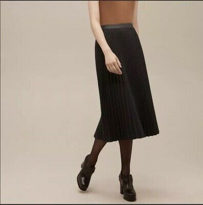 a0ad07520 Aritzia Babaton Pleated Midi A-Line Skirt Women's Size Large Charcoal Grey