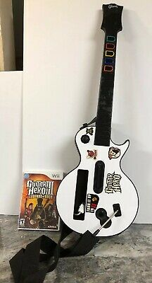 Nintendo Wii Gibson White Les Paul Guitar & Guitar Hero 3 Legends Of Rock Bundle