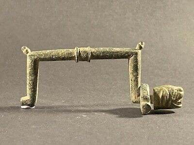 Ancient Viking Bronze Handle Featuring Zoomorphic End Piece Circa 900-1000Ad