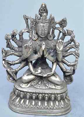 Chinese Collectable Tibet Old Miao Silver Carve Thousand-Hand Buddha Pray Statue