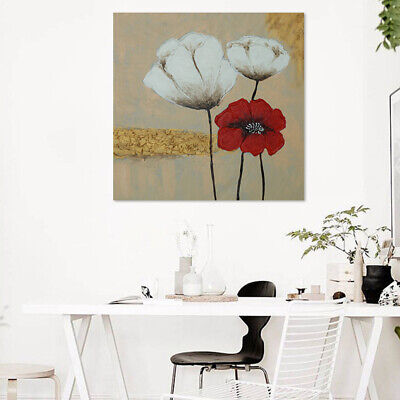 Hand Painted Poppy Flower Oil Painting Canvas Modern Wall Art Home Decor Framed