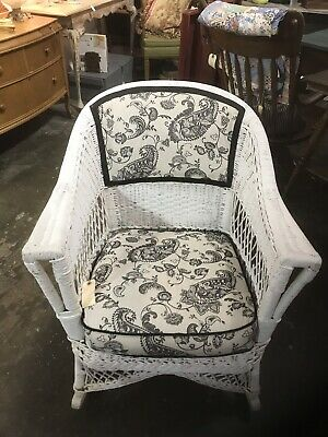 Antique Upholstered Wicker Rocking Chair Farm House/Nursery Pick Up Only