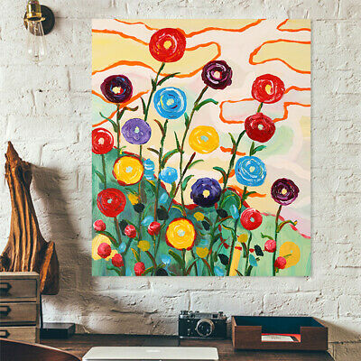 Hand Painted Oil Painting On Canvas Wall Art Home Decor Colorful Flowers Framed