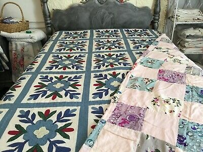 Lot Of 2 Cutter Quilts - Appliqué And Block