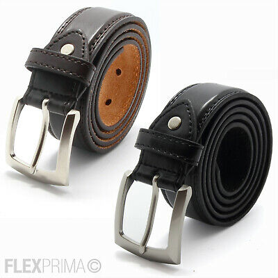 Leather Mens Belt Belts Real New Genuine Buckle Trouser Brown Black Jeans 29