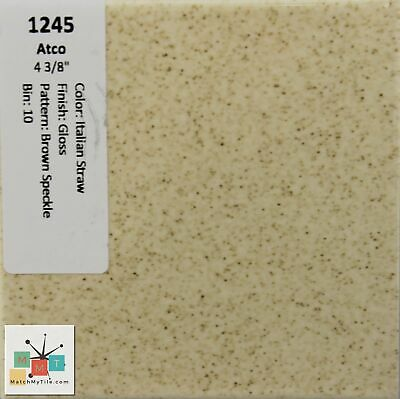 MMT-1245 Vintage Ceramic Atco Tile Italian Straw Glossy Brown Speckled