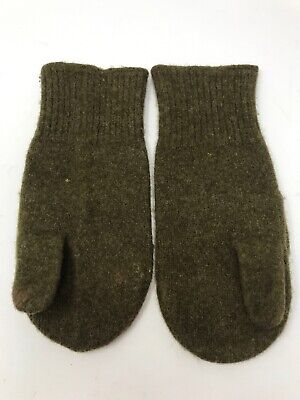 Vintage World War II WW2 US Army Trigger Finger Gloves Mittens Green 100% Wool