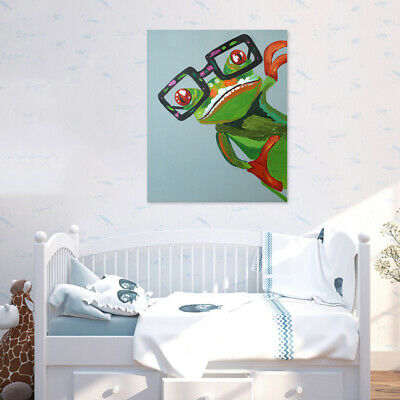 Hand Painted Modern Abstract Wall Art Oil Painting on Canvas Happy Frog Framed