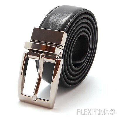 Leather Mens Belt Real New Genuine Buckle Trouser Brown Black Reversible 10