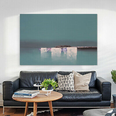 Hand-Painted Abstract Home Decor Canvas Art Wall Oil Painting Framed Seaside
