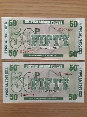 British armed forces Banknotes x 2. UNC.