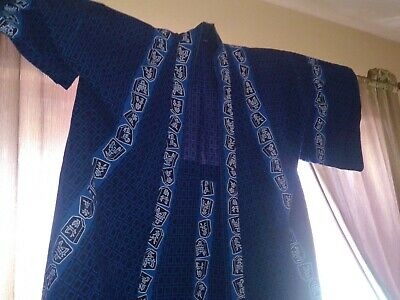 Japanese Cotton Kimono Handmade Blue Indigo White Robe Vintage Japan