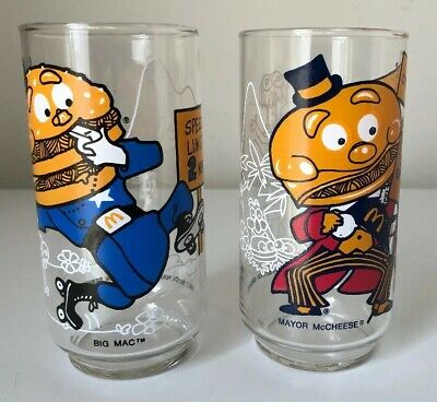 1977,6-Mcdonalds GLASSES Mayor McCheese,RONALD,HAMBURGLAR,BIG MAC,CROOK /&GRIMACE