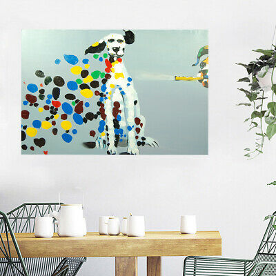 Hand-painted Abstract Canvas Oil Painting Wall Art Decor Framed - Dalmatian