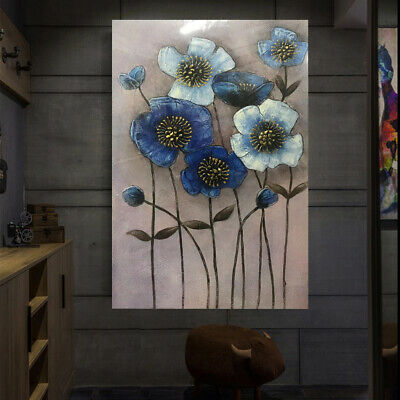 Framed Hand Painted Blue Flowers Abstract Oil Painting Stretched On Canvas