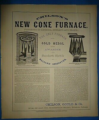 Authentic 1857 Print Advertising CHILSON, GOULD & Co. - NEW CONE FURNACE -BOSTON