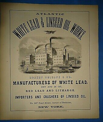 Authentic 1857 Print Advertising ATLANTIC WHITE LEAD & LINSEED OIL WORKS - NY