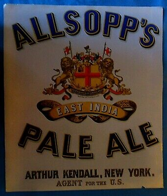 Rare Authentic 1857 Color Print / Lith Advertising ALLSOPP'S EAST INDIA PALE ALE