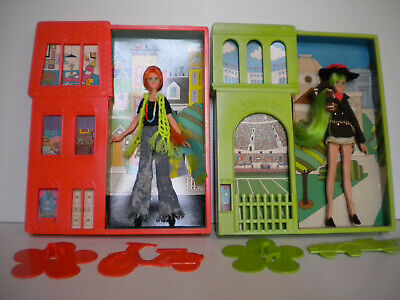 "Two 8"" FLATSY FASHION TEEN dolls-ALI & GWEN in plastic frames-stands-Ideal 1969"