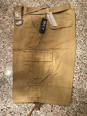 3aeae997dd NEW Galaxy By Harvic Men's Belted Cotton Cargo Shorts -Khaki Color Size:34