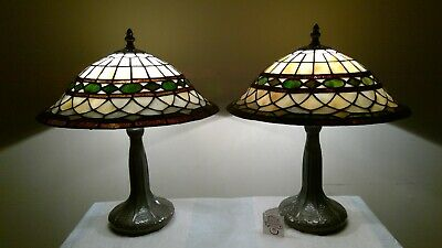 New Price! Stunning Vintage Pair of Geometric Stained Glass Shades / Base Lamps