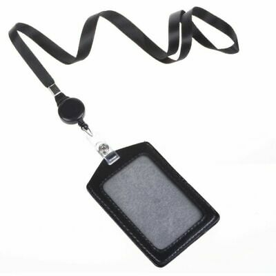 ID Card Leather Holder and Retractable Lanyard Neck Strap Business Black