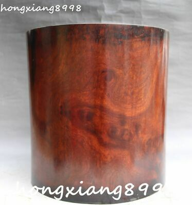 """10""""Old Chinese Ancient Huanghuali Wood Hand Carving Brush Pot pencil Holder vase"""