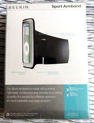 NIB Belkin Sport Armband for iPod Nano 1st and 2nd Gen  Samsung K3 Black/Gray -
