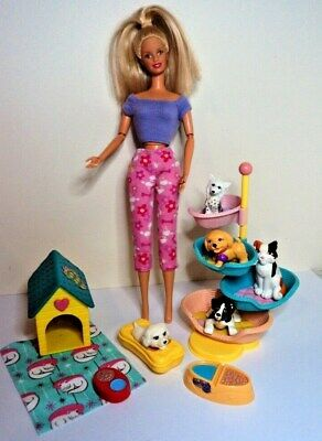 BARBIE teen fashion Mattel pet vet doll & pups dogs in baskets dog wash kennell