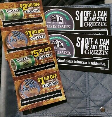 GRIZZLY MOIST SNUFF coupons - $3 25 | PicClick