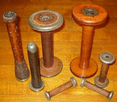 Lot of 7 Vintage Wooden Textile Bobbin Spindles Beehive some with Brass