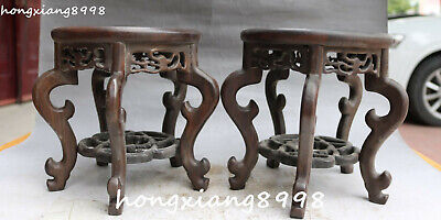 """7"""" Old Chinese Ancient Huanghuali Wood Carving Dragon Flower Tablet Chair Pair"""
