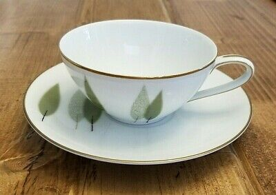 NORITAKE #6030 SUGI TEA CUP and SAUCER White Green Leafs Gold Trim